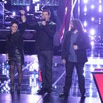 "THE VOICE -- ""Battle Rounds"" Episode 607 -- Pictured: (l-r) Kat Perkins, Carson Daly, Patrick Thomson -- (Photo by: Tyler Golden/NBC)"