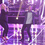 "THE VOICE -- ""Battle Rounds"" Episode 607 -- Pictured: (l-r) Dani Moz, Deshawn Washington  -- (Photo by: Tyler Golden/NBC)"