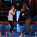 "THE VOICE -- ""Battle Rounds"" Episode 607 -- Pictured: (l-r) Jake Barker, Stevie Jo  -- (Photo by: Tyler Golden/NBC)"