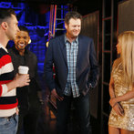 "THE VOICE -- ""Battle Rounds"" -- Pictured: (l-r) Adam Levine, Usher, Blake Shelton, Shakira -- (Photo by: Trae Patton/NBC)"