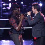"THE VOICE -- ""Battle Rounds"" Episode 608 -- Pictured: (l-r) Delvin Choice, Caleb Elder -- (Photo by: Tyler Golden/NBC)"