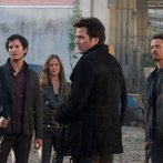 Pictured: Mat Vairo as Connor, Tracy Spiridakos as Charlie Matheson, Billy Burke as Miles Matheson, David Lyons as Sebastian Monroe -- (Photo by: Felicia Graham/NBC)