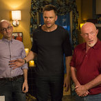 "COMMUNITY -- ""Advanced Advanced Dungeons & Dragons"" Episode 510 -- Pictured: (l-r) Jim Rash as Dean Pelton, Joel McHale as Jeff, Jonathan Banks as Professor Buzz Hickey -- (Photo by: Justin Lubin/NBC)"