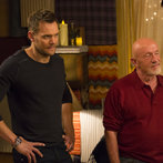 "COMMUNITY -- ""Advanced Advanced Dungeons & Dragons"" Episode 510 -- Pictured: (l-r) Joel McHale as Jeff, Jonathan Banks as Professor Buzz Hickey -- (Photo by: Justin Lubin/NBC)"