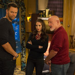 """COMMUNITY -- """"Advanced Advanced Dungeons & Dragons"""" Episode 510 -- Pictured: (l-r) Joel McHale as Jeff, Alison Brie as Annie, Jonathan Banks as Professor Buzz Hickey -- (Photo by: Justin Lubin/NBC)"""