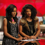 "THE VOICE -- ""Team Shakira Battle Reality"" Episode 609 -- Pictured: (l-r) Deja Hall, Musicbox / Ayesha Brooks -- (Photo by: Trae Patton/NBC)"