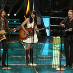 """THE VOICE -- """"Battle Rounds"""" Episode 609 -- Pictured: (l-r) Christopher Hawkes and Dawn Dropeza, Josh Murley -- (Photo by: Tyler Golden/NBC)"""