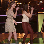 "THE VOICE -- ""Battle Rounds"" Episode 609 -- Pictured: (l-r) Madi Metcalf and Alaska Holloway  -- (Photo by: Tyler Golden/NBC)"