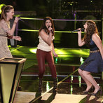 """THE VOICE -- """"Battle Rounds"""" Episode 609 -- Pictured: (l-r) Madi Metcalf and Alaska Holloway, Audra McLaughlin  -- (Photo by: Tyler Golden/NBC)"""