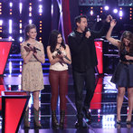 """THE VOICE -- """"Battle Rounds"""" Episode 609 -- Pictured: (l-r) Madi Metcalf and Alaska Holloway, Carson Daly, Audra McLaughlin  -- (Photo by: Tyler Golden/NBC)"""
