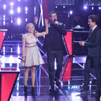 "THE VOICE -- ""Battle Rounds"" Episode 609 -- Pictured: (l-r) Madilyn Paige, Carson Daly, Tanner James -- (Photo by: Tyler Golden/NBC)"
