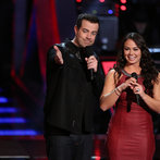 "THE VOICE -- ""Battle Rounds"" Episode 609-- Pictured: (l-r) Carson Daly, Tess Boyer -- (Photo by: Tyler Golden/NBC)"