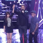 "THE VOICE -- ""Battle Rounds"" Episode 610 -- Pictured: (l-r) Christina Grimmie, Carson Daly, Joshua Howard -- (Photo by: Tyler Golden/NBC)"