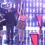 "THE VOICE -- ""Battle Rounds"" Episode 610 -- Pictured: (l-r) Cary Laine, Carson Daly, Sam Behymer -- (Photo by: Tyler Golden/NBC)"