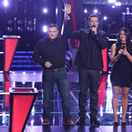 "THE VOICE -- ""Battle Round 2"" Episode 611 -- Pictured: (l-r) Jake Worthington, Carson Daly, Tess Boyer -- (Photo by: Tyler Golden/NBC)"