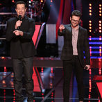 "THE VOICE -- ""Battle Round 2"" Episode 611 -- Pictured: (l-r) Carson Daly, Josh Kaufman -- (Photo by: Tyler Golden/NBC)"