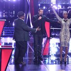 "THE VOICE -- ""Battle Round 2"" Episode 612 -- Pictured: (l-r) Biff Gore, Carson Daly, Sisaundra Lewis -- (Photo by: Tyler Golden/NBC)"