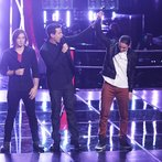 "THE VOICE -- ""Battle Round 2"" Episode 612 -- Pictured: (l-r) Morgan Wallen, Carson Daly, Stevie Jo -- (Photo by: Tyler Golden/NBC)"
