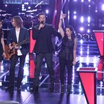 "THE VOICE -- ""Battle Round 2"" Episode 613 -- Pictured: (l-r) Dawn Dropeza and Christopher Hawkes, Carson Daly, Kat Perkins -- (Photo by: Tyler Golden/NBC)"