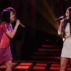 "THE VOICE -- ""Battle Round 2"" Episode 613 -- Pictured: (l-r) Musicbox / Ayesha Brooks, Melissa Jimenez  -- (Photo by: Tyler Golden/NBC)"