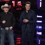 "THE VOICE -- ""Playoffs"" Episode 614 -- Pictured: (l-r) Jake Worthington, Carson Daly -- (Photo by: Tyler Golden/NBC)"