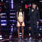 "THE VOICE -- ""Playoffs"" -- Pictured: (l-r) Deja Hall, Carson Daly -- (Photo by: Tyler Golden/NBC)"
