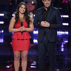 "THE VOICE -- ""Playoffs"" -- Pictured: (l-r) Tess Boyer, Carson Daly -- (Photo by: Tyler Golden/NBC)"