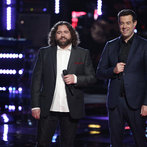 """THE VOICE -- """"Playoffs"""" -- Pictured: (l-r) Patrick Thomson, Carson Daly -- (Photo by: Tyler Golden/NBC)"""