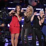 "THE VOICE -- ""Playoffs"" -- Pictured: (l-r) Tess Boyer, Shakira, Kristen Merlin, Dani Moz -- (Photo by: Tyler Golden/NBC)"