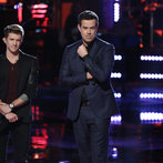 "THE VOICE -- ""Playoffs"" -- Pictured: (l-r) Jake Barker, Carson Daly -- (Photo by: Tyler Golden/NBC)"