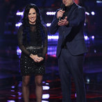 "THE VOICE -- ""Playoffs"" -- Pictured: (l-r) Kat Perkins, Carson Daly -- (Photo by: Tyler Golden/NBC)"