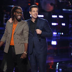 """THE VOICE -- """"Playoffs"""" -- Pictured: (l-r) Delvin Choice, Carson Daly -- (Photo by: Tyler Golden/NBC)"""