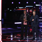 """THE VOICE -- """"Playoffs"""" -- Pictured: (l-r) T.J. Wilkins, Carson Daly -- (Photo by: Tyler Golden/NBC)"""