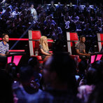 "THE VOICE -- ""Live Show"" -- Pictured: (l-r) Adam Levine, Shakira, Usher, Blake Shelton -- (Photo by: Trae Patton/NBC)"