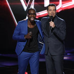 "THE VOICE -- ""Live Show"" -- Pictured: (l-r) Delvin Choice, Carson Daly -- (Photo by: Tyler Golden/NBC)"