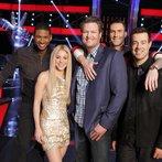 "THE VOICE -- ""Battle Rounds"" -- Pictured: (l-r) Usher, Shakira, Blake Shelton, Adam Levine, Carson Daly -- (Photo by: Trae Patton/NBC)"