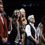 "THE VOICE -- ""Live Show"" -- Pictured: (l-r) Josh Kaufman, T.J. Wilkins, Bria Kelly, Dani Moz, Kristen Merlin, Tess Boyer, Kat Perkins -- (Photo by: Trae Patton/NBC)"