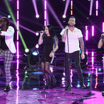 "THE VOICE -- ""Live Show"" -- Pictured: (l-r) Delvin Choice, Kat Perkins, Adam Levine, Christina Gimmie -- (Photo by: Tyler Golden/NBC)"