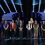 "THE VOICE -- ""Live Show"" -- Pictured: (l-r) Jake Worthington, Sisaundra Lewis, Audra McLaughlin, Josh Kaufman, T.J. Wilkins, Bria Kelly, Kristen Merlin, Dani Moz, Tess Boyer, Kat Perkins, Delvin Choice, Christina Gimmie -- (Photo by: Tyler Golden/NBC)"