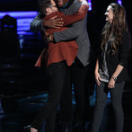 """THE VOICE -- """"Live Show"""" -- Pictured: (l-r) Josh Kaufman, T.J. Wilkins, Bria Kelly -- (Photo by: Tyler Golden/NBC)"""