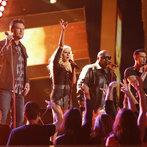 "THE VOICE -- ""Live Show"" Episode 519A -- Pictured: (l-r) Blake Shelton, Christina Aguilera, CeeLo Green, Adam Levine -- (Photo by: Trae Patton/NBC)"