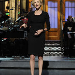 Charlize Theron hosts Saturday Night Live with musical guestThe Black Keys on May 10, 2014.