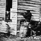 Black US Soldiers Pointing Rifles In Civil War