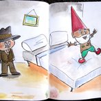 james jumps on the bed (watercolor)