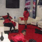 Stretching In the green room before rehearsal