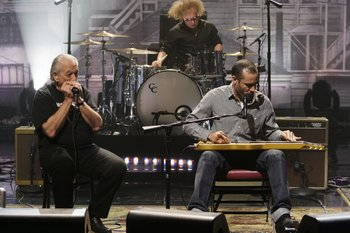THE TONIGHT SHOW WITH JAY LENO -- Episode 4570 -- Pictured: (l-r) Charlie Musselwhite, Ben Harper -- (Photo by: Stacie McChesney/NBC)