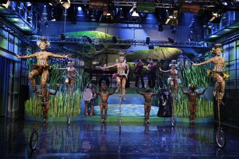 THE TONIGHT SHOW WITH JAY LENO -- Episode 4569 -- Pictured: Totem from Cirque du Soleil -- (Photo by: Stacie McChesney/NBC)