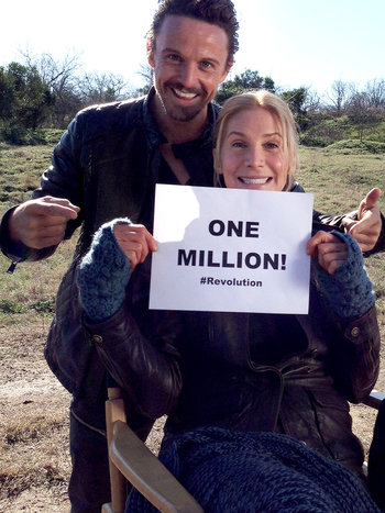 Revolution - David Lyons and Elizabeth Mitchell celebrate 1 million Facebook fans