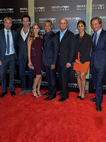 UN staff with Revolution cast and creator at Season 2 premiere, United Nations Headquarters
