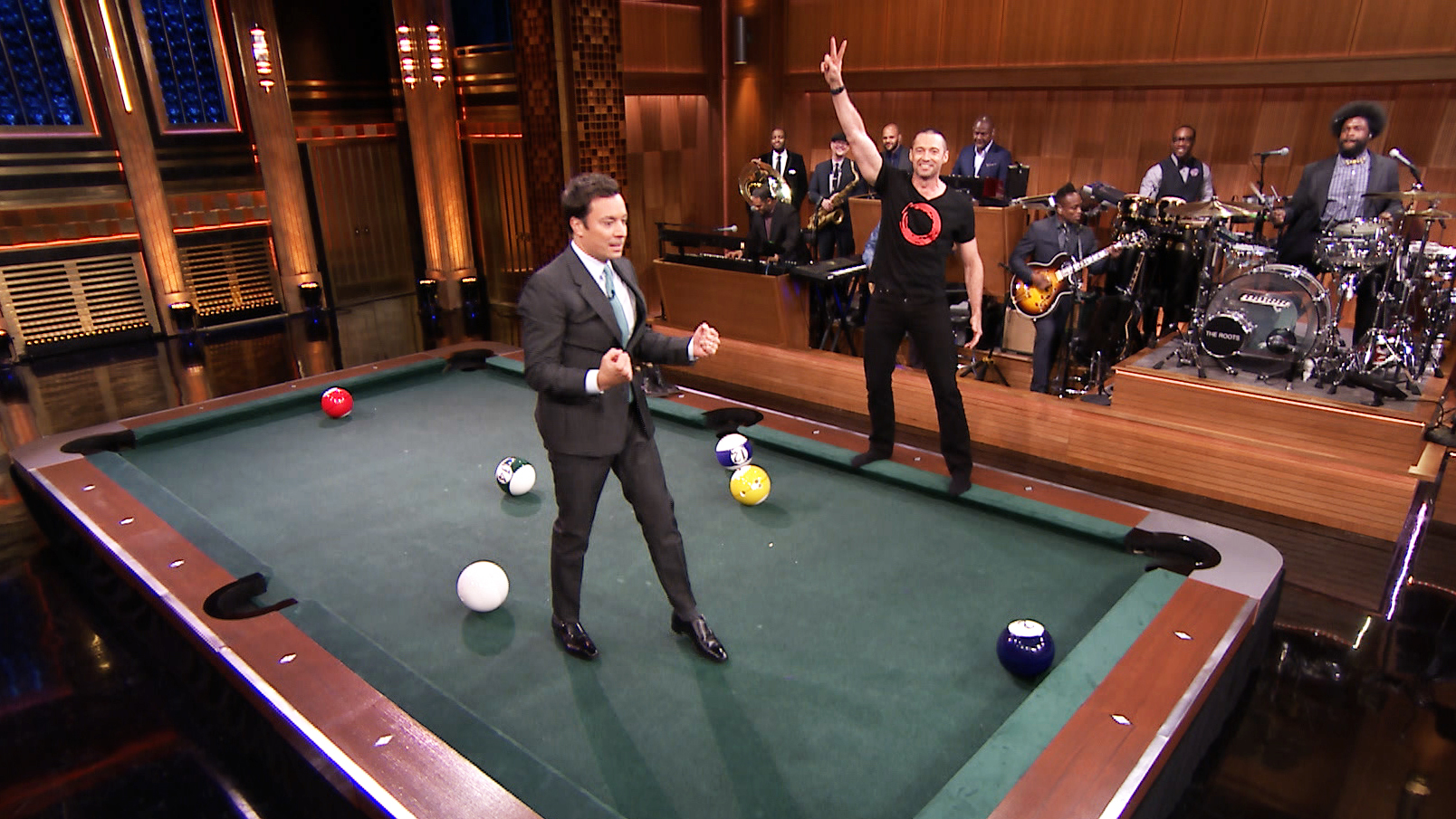 Pool bowling with hugh jackman the tonight show for Pool show 2014